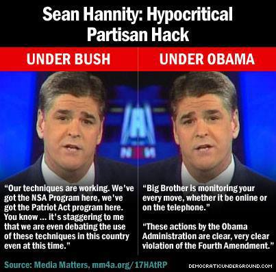 MEDIA FOX SEAN HANNITY Patriot Act Then & Now QUOTES