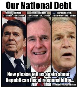 POTUS 40 REAGAN 41 BUSH 43 BUSH National Debt Pic