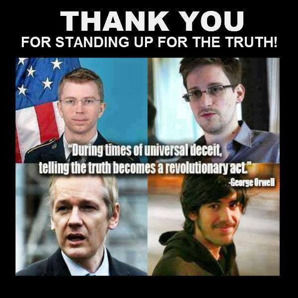 WHISTLE BLOWER  - 4 Panel ASSSANGE, MANNING, SWARZ, SNOWDEN - w Orwell Saying in times of (2)