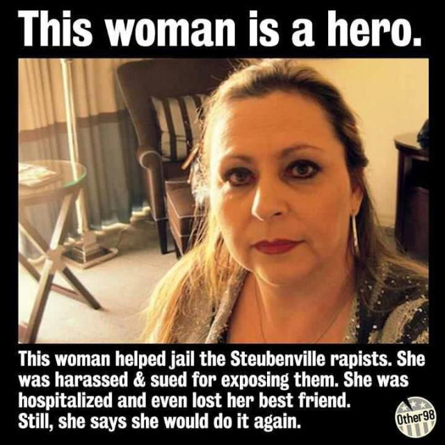 WOMENS RIGHTS Strubenville, OH Rapist's Reporter  ..helped jail the Steubenville rapists. She was harassed, sued for exposing them. ..hospitalized & even lost her best friend. ..would do it again