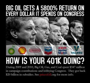 CORP OIL BIG OIL GOT 5800% Return On It's Investment In Congressional Pay-To-Play