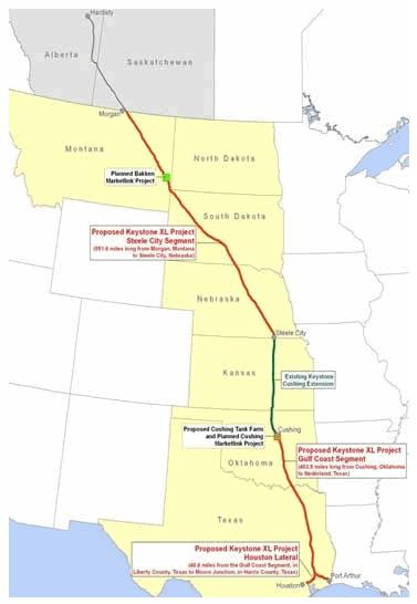 CORP OIL KEYSTONE XL Map Through U.S. Heartland