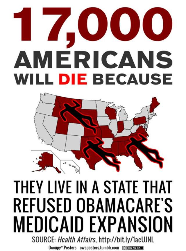 104SR_ SSN HEALTH CARE MEDICAID EXPANSION - 17,000 AMERICANS Will DIE 2014 BECAUSE THEY LIVE IN A STATE THAT REFUSED OBAMACARE'S MEDICAID EXPANSION