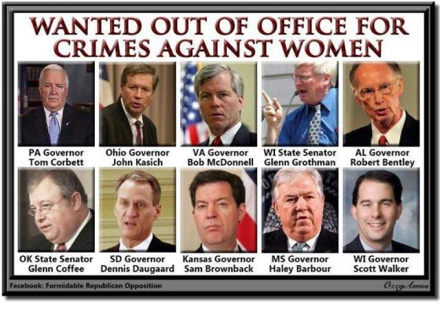 105SSR_ WOMEN'S RIGHTS Out of Office PA Tom CORBETT, OH John KASICH, VA Bob McDONNELL, WI GROTHMAN, AL Robert BENTLEY, OK COFFEE, SD Dennis DEGUARD, KS Sam BROWNBACK, MS Haley BARBOUR, WI Scott WALKER