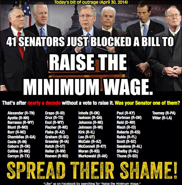 109SSR_ MINIMUM WAGE GOP BC 41 REPUBLICAN Senators Just Blocked A Bill To Raise The Minimum Wage