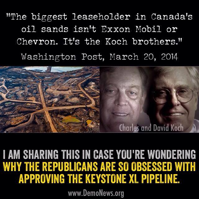 115SSR_ OIL_ KEYSTONE XL TAR SANDS KOCH BROTHERS The biggest lease holder in Canadian Tar Sands is not exxon Mobil, it's the Koch Brothers