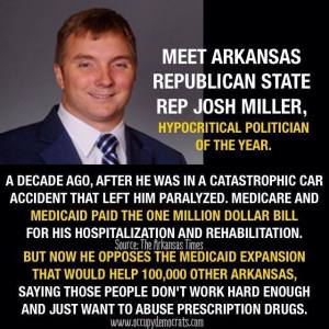 ST AR JOSH MILLER Rep who had a catastrophic duunken car wreck and came out parylized from the waste down rehibilitated by SOCIAL SAFETY NET