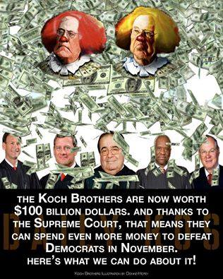 CORP WOLF PAC KOCH BROTHERS CLOWN FACE and SUPREME COURT