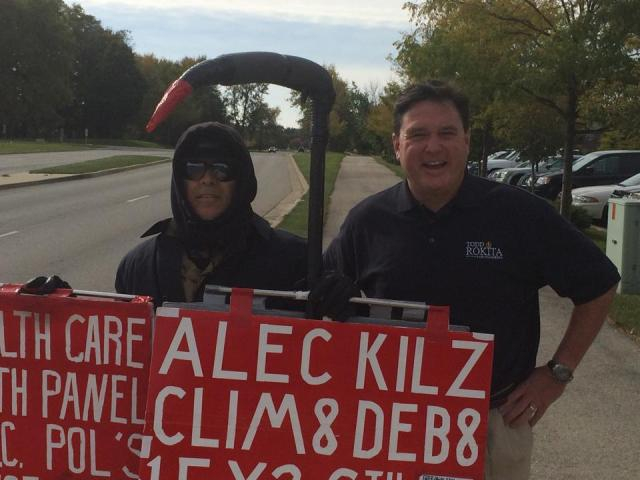 PROTEST PIC - Curb of Carmel Renaissance Hotel - by Todd Rokita for Congress - My first protest encounter of the day—Love the First Amendmant. Wish he could spell…. T.R.