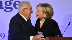 0000F_ WAR - ST NY HILLARY CLINTON and Henry Kissinger receiving the Germany Freedom Award in 2009 - Mother Jones 09-14 Article