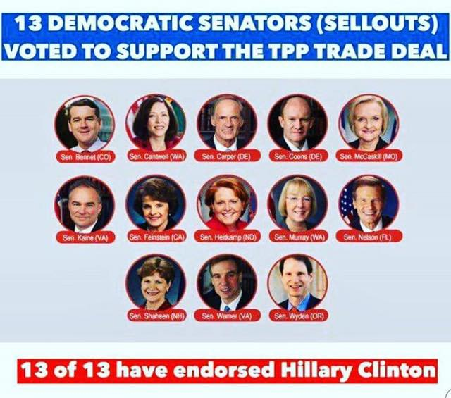 000D_ TPP TRADE DEAL - ST NY HILLARY CLINTON - TPP - 13 Democratic Senators have endorsed TPP and 13 Senators have endorsed Hillary Clinton