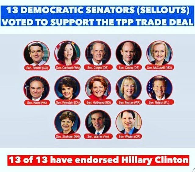 100_ TPP TRADE DEAL - ST NY HILLARY CLINTON - TPP - 13 Democratic Senators have endorsed TPP and 13 Senators have endorsed Hillary Clinton