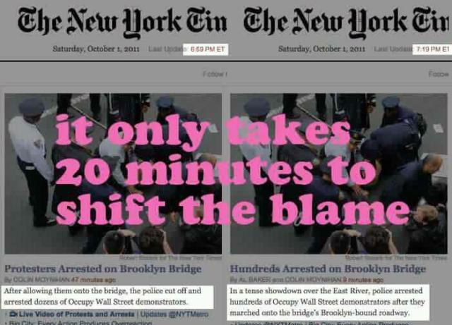 MEDIA MAINSTREAM NEWSPAPER - it only takes 20 minutes to shift the blame