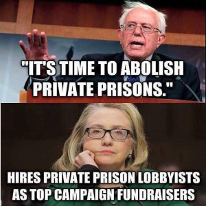 ST VT BERNIE SANDERS Abolish Pirvate Prisons - Hillary Hires private prison lobbyist as campaign manager