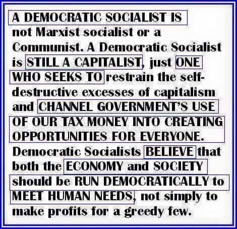 ST VT BERNIE SANDERS Democratic Socialist Defined