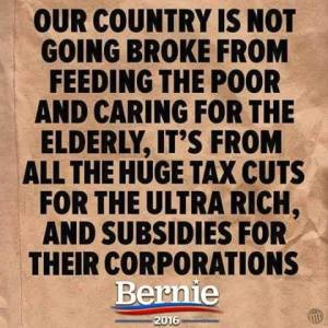 ST VT BERNIE SANDERS OUR Country Going Broke from tax breaks to Coporations and the Rich
