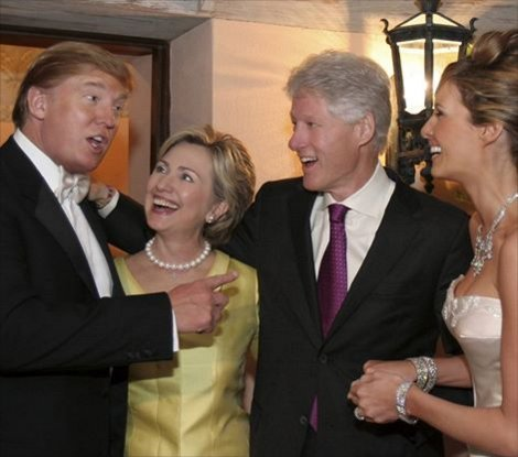 ST NY HILLARY CLINTON and Bill w DONALD TRUMP and wife