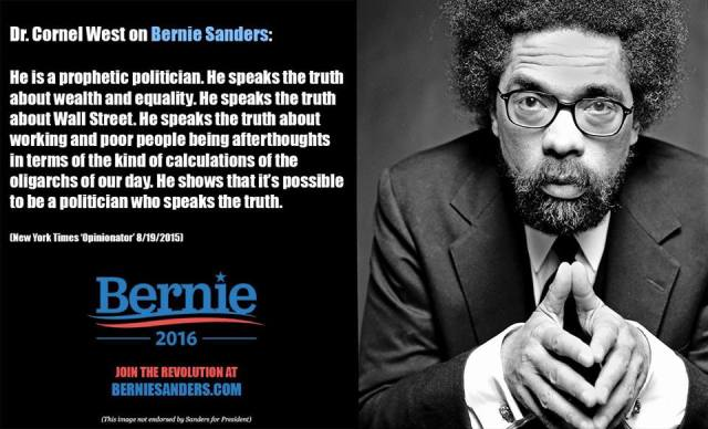 ST VT BERNIE SANDERS described by Cornell West