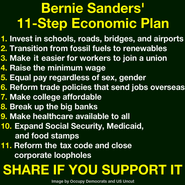0001E_ TABLE ST VT BERNIE SANDERS 11 POINT ECONOMIC PLAN