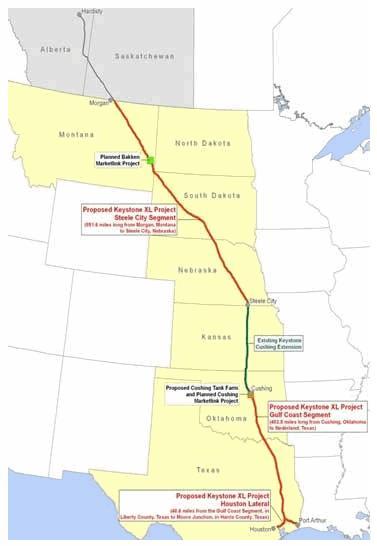 0002KXLb_ CORP OIL KEYSTONE XL Map Through U.S. Heartland