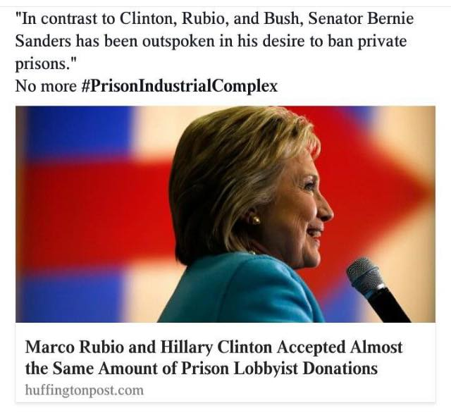 0003K_ BLM - Prison - ST NY HILLARY CLINTON Accepted the same amount of money from the Prison Industrial Complex as Rubio