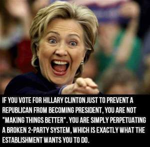 0005K_ ONE PERCENT CANDIDATE - ST NY HILLARY CLINTON 2 Party System