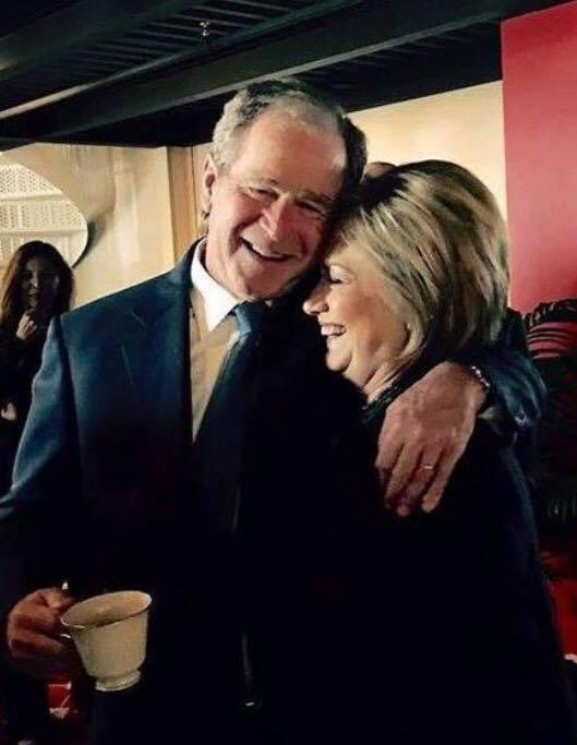 0000AA_ ST NY HILLARY CLINTON hugging POTUS George W. Bush