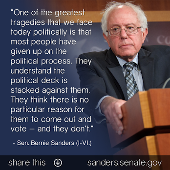 ST VT BERNIE SANDERS Most People Don't Vote