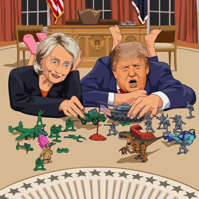 0000000_ ST NY HILLARY CLINTON and Donald Trump playing war